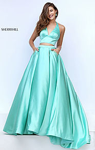 Two Piece Halter Neckline 2016 Green Sherri Hill 50053 Long Satin Prom Dress [Sherri Hill 50053 Green] - $180.00 : 20...