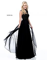 Beaded Sleeve 2018 High Neck Black Long Chiffon Party Gowns Sherri Hill 51687 [Sherri Hill 51687 Black] - $260.00 : 2...