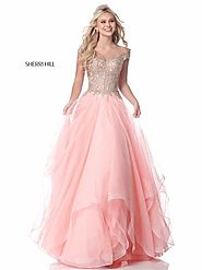 Sherri Hill 51614 Beads Applique Blush/Gold Long Net Prom Dress 2018 Cap Sleeve [Sherri Hill 51614 Blush/Gold] - $270...