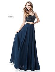 2018 Two Piece Navy Sherri Hill 51688 Long Chiffon Prom Dresses Beaded Bodice [Sherri Hill 51688 Navy] - $260.00 : 20...