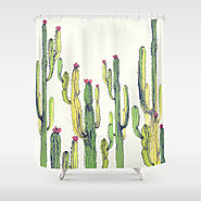 vertical cactus Shower Curtain