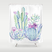 Mixed Cacti White Shower Curtain