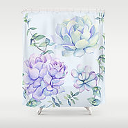 Wonderful Succulents Light Blue Shower Curtain
