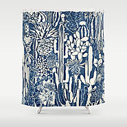 Indigo cacti Shower Curtain