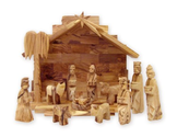 Olive Wood Miniature Set with Stable 12 pieces