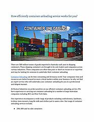 How Efficiently Container Unloading Service Works for you?