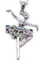 Amazon.com: Multicolor Dress Dancing Ballerina Dancer Ballet Dance Pendant Necklace Charm Silver Tone Designer Teens ...
