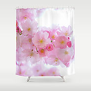 Pink Japanese Cherry Tree Blossom Shower Curtain