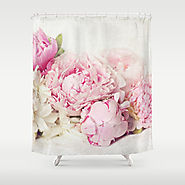 Peonies on white Shower Curtain