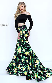 2017 Two Piece Sherri Hill 50422 Floral Printed Long Sleeves Black/Yellow Long Prom Dresses [Sherri Hill 50422 Black/...