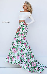 Ivory/Pink Two Piece 2017 Long Sleeves Sherri Hill 50433 Off The Shoulder Neckline Long Floral Printed Mermaid Dresse...
