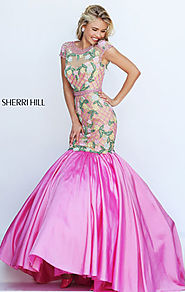 Cap Sleeves Floral Printed 2016 High Scoop Neckline Long Satin Prom Dresses Sherri Hill 50304 Beaded Nude/Candy Pink ...