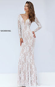 2016 Long Sleeves Ivory/Nude Lace Patterned Long Evening Dresses Sherri Hill 50019 Deep V Neckline Open Back [Sherri ...