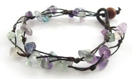 Amazon.com: MGD, Purple and Green Fluorite Chip Bracelet, 2-strand. Beautiful Handmade Gemstone Wrap Bracelet made fr...