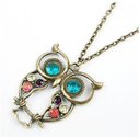Amazon.com: Vintage, Retro Colorful Crystal Owl Pendant and Chain with Antiqued Bronze/Brass Finish: Jewelry