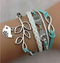 EmBest Infinity, Owls & Lucky Branch/Leaf and Lovely Bird Charm Bracelet in Silver Mint Green Wax Cords and Braid