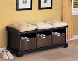 Black finish wood country style bedroom hall bench with storage baskets