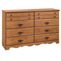 8 Drawer Triple Dresser, Country Pine