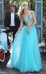 2017 Aqua Sherri Hill 51166 Beaded 2-Piece Slit Prom Dress With Sleeves [Aqua Sherri Hill 51166] - $227.00 : Cheap Pr...