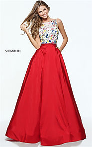 2017 Floral Appliqued Sherri Hill 51037 Deep V-back Bateau Long Prom Dress [Sherri Hill 51037] - $235.00 : Cheap Prom...