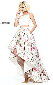 2017 Lovely Sherri Hill 51205 Ivory Floral Two Piece Hi-Low Print Dress [Sherri Hill 51205] - $265.00 : Cheap Prom Dr...