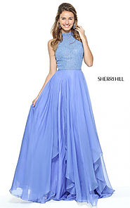 2017 Sherri Hill 50808 A-line High Neck Periwinkle Prom Party Dress Long [Sherri Hill 50808 Periwinkle] - $198.00 : C...