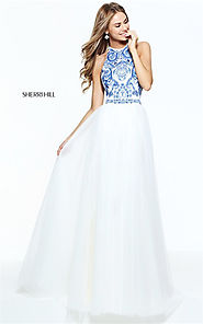 2017 Sherri Hill 51021 Halter Beaded Open Back Ivory/Blue Brides Dress [Sherri Hill 51021] - $235.00 : Cheap Prom Dre...