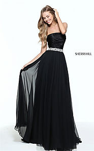 2017 Strapless Black Chiffon Ruched Prom Dresses Jeweled Sherri Hill 51017 [Sherri Hill 51017] - $180.00 : Cheap Prom...