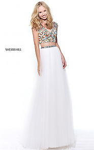 Beaded Two-Piece Sherri Hill 51166 Long Slit Ivory Bridesmaid Dress 2017 [Sherri Hill 51166 Ivory] - $227.00 : Cheap ...