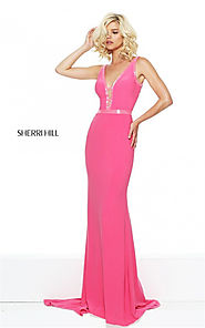 Beading Sherri Hill 50814 Deep V-Neck Cutout Slim Fuchsia Formal Dress 2017 [Sherri Hill 50814 Fuchsia] - $180.00 : C...