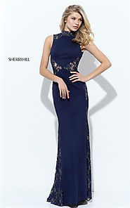 Embellished Beads Sherri Hill 50652 Low Back Long Fitted Navy Lace Dress Prom 2017 [Sherri Hill 50652 Navy] - $188.00...