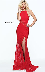 Embellished Sherri Hill Red 51019 Lace Long Halter Slit Party Dress Cheap [Sherri Hill Red 51019] - $210.00 : Cheap P...