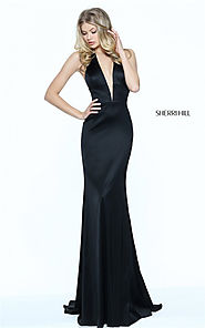 Fitted Sherri Hill Black 50919 Halter Deep V-Neck Long Prom Gown 2017 [Sherri Hill Black 50919] - $180.00 : Cheap Pro...