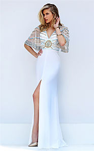 Half Sleeved Sherri Hill 50591 Ivory Beaded Cutout 2017 Fitted Slit Gown [Sherri Hill 50591 Ivory] - $220.00 : Cheap ...