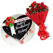 Heart Shaped Cake with Red Roses