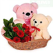 Buy/Send 10 RED ROSES WITH TEDDY - YuvaFlowers