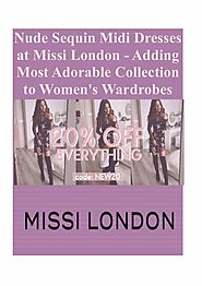 Nude Sequin Midi Dresses at Missi London - Adding Most Adorable Collection to Women's Wardrobes | edocr