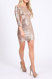 Sequin Long Dress in Rose Gold Colour at Missi London – Perfect Party Wear to Rock the Rendezvous - Missi London Clot...