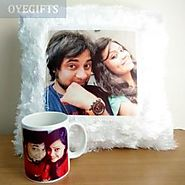 Combo of Mug and Cushion - Personalized Gifts - OyeGifts.com