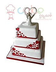 White Square with red hearts – Cake Square Chennai