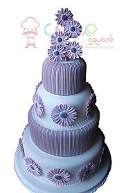 Best Wedding Cakes Chennai - Stripe Purple Style