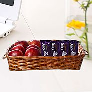 Buy/Send Apples in Basket along with Dairy Milk Chocolates - YuvaFlowers