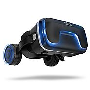 3D Virtual Reality Headset for 3D Movies and Games - VR Headset with Stereo Headphones and Adjustable Straps between ...