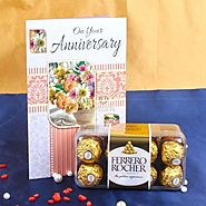 Send Anniversary Card with Ferrero Rocher Box Same Day Delivery - OyeGifts