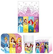 Disney Princess Dream Big Birthday Party Supplies Bundle Kit Including Plates, Cups, Napkins and Table cover - 8 Guests
