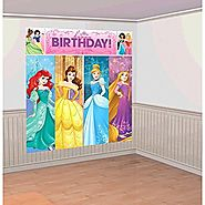 "Amscan Disney Princess Dream Big Birthday Party Scene Setters Wall Decorating Kit (5 Piece), Multicolor, 59"" x 65"""