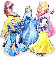 Disney Princess BIRTHDAY PARTY Balloons Decorations Supplies SET OF 5 XL for a Super Shape Balloon Bouquet