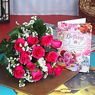 Send Pink Roses and Birthday Greetings For You Same Day Delivery - OyeGifts