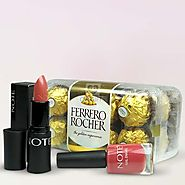 Send FERRERO ROCHER & COSMETICS HAMPER Online Same Day Delivery - OyeGifts.com