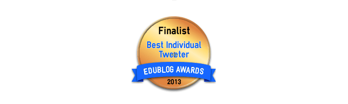 Headline for Best Individual Tweeter 2013 - Edublog Awards
